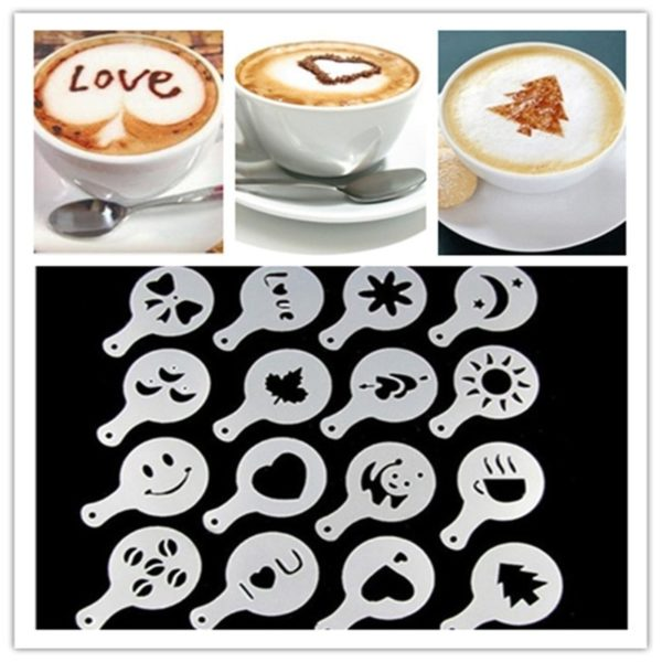 16PCS/set Cafe Foam Spray Template Barista Stencil Decoration Tool Garland Mold Coffee Printing Powdered Sugar Sieve Accessories